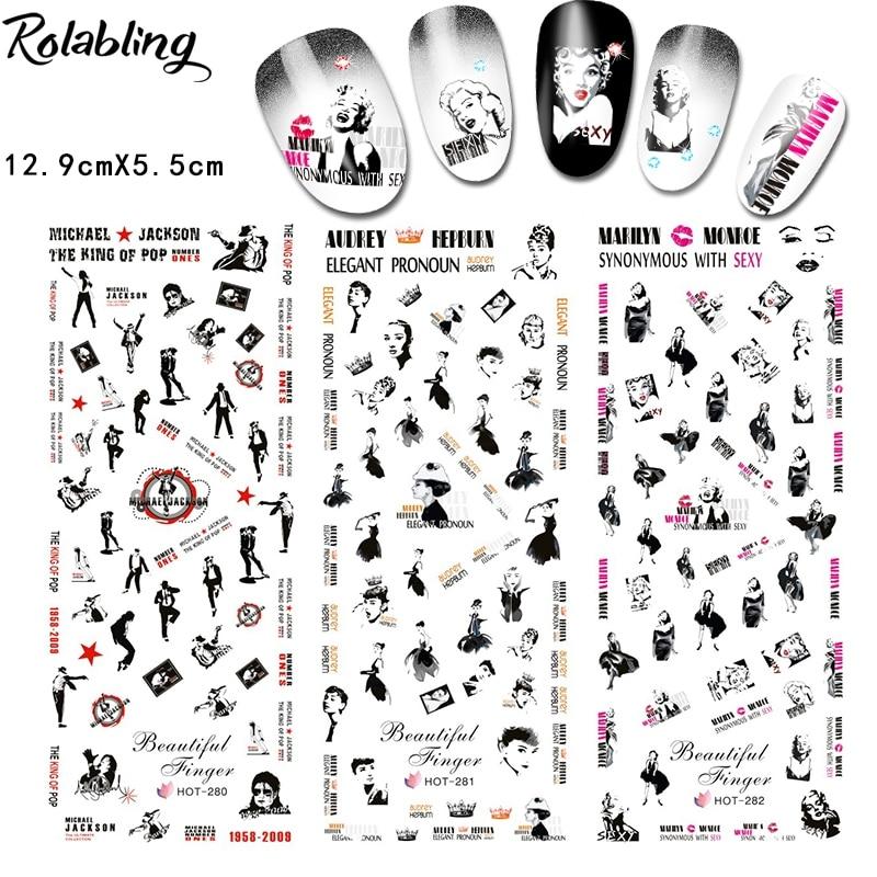 Rolabling Marilyn Monroe Michael Jackson Hepburn Design Nail