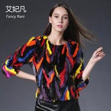 Genuine Mink Fur Coat Jacket Patchwork Colorful Fur Three Quarter Sleeve Women Female Luxury Real Fur Short Coats High Quality