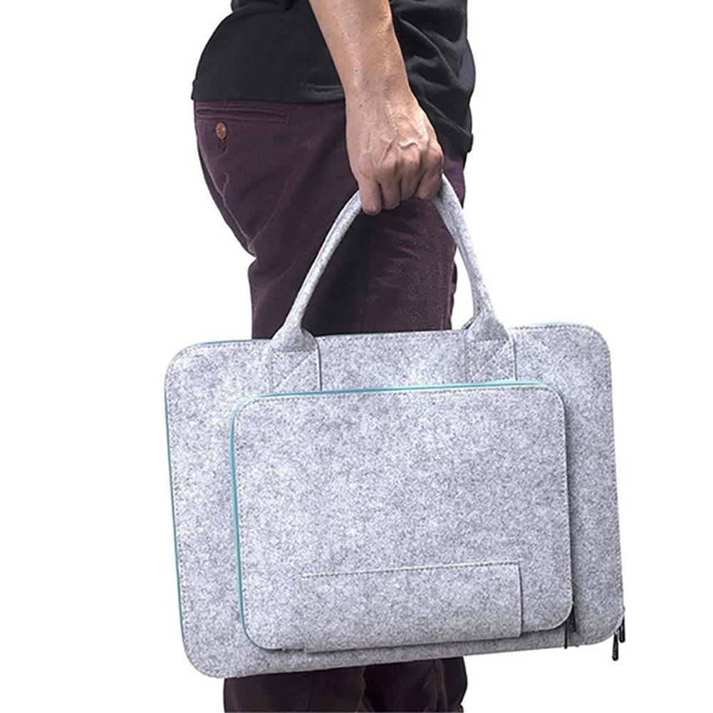 Grey Simple Style Felt Laptop Bag Notebook Case Briefcase Handlebag for Macbook Air Pro Tablet