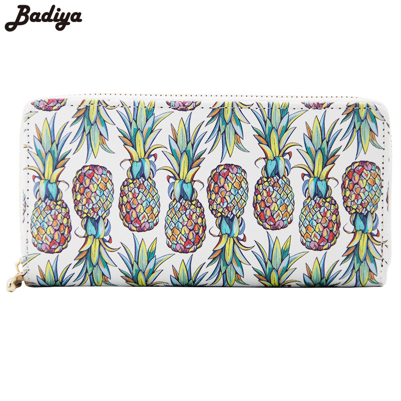 Ladies Wallet Pu Leather Print Pineapple Zipper Coin Purse Women Luxury Brand Card Holders Women Long Wallets Clutch korean brand design pu leather solid hasp envelope day evening clutch wallets 16 card bags long wallet for women ladies purse