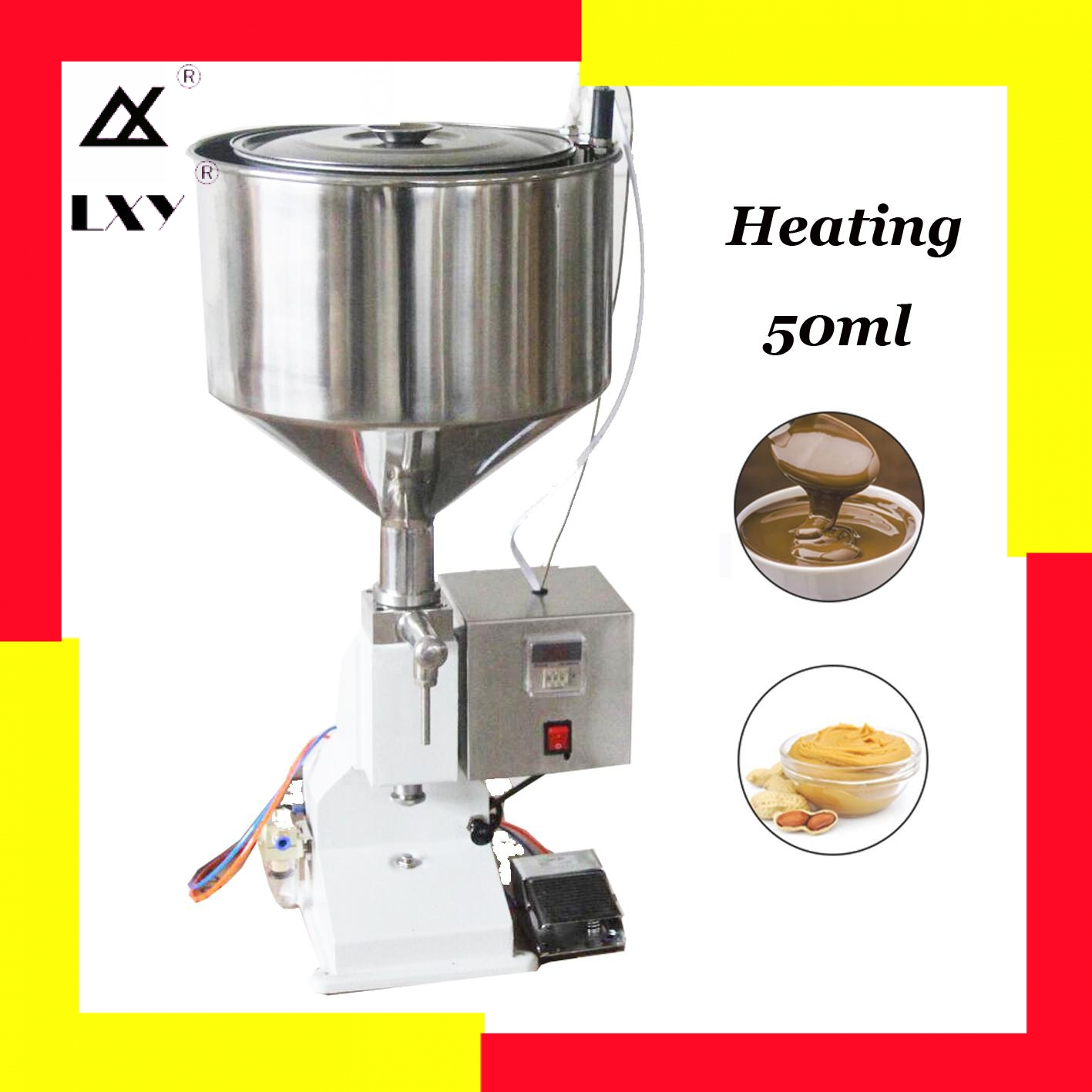 Heating Hopper Pneumatic Filling Machine 5-50ml Cream Food Paste Dispensing Peanut Butter Packaging Equipment Free Shipping