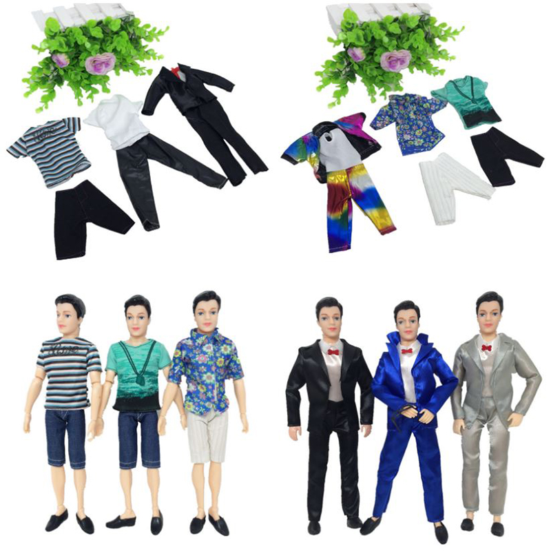 5 pcs Men Male Leisure Clothes Athletic Wear Set For Barbies Dolls Boys Girls Birthday Christmas