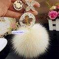 YSK51 лисий мех мяч горный хрусталь металлические подарки 2016 брелки кольца для ключей цепи llaveros chaveiros portachiavi брелки для женщин