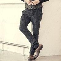 2016 New Winter Brown Corduroy Stripes Mens Pants Casual Fashion Mens Winter Pants Business Trousers Pantalones