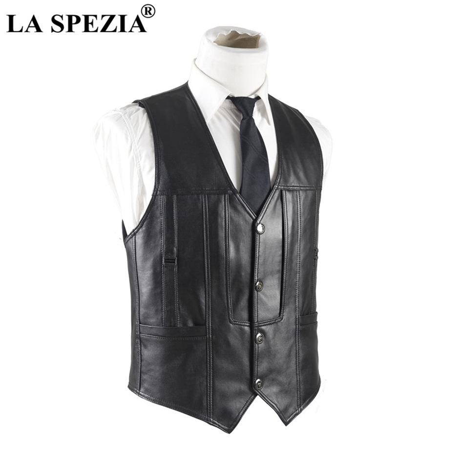 LA SPEZIA Mens Leather Waistcoat Genuine Sheepskin Leather Vest Male Soft Real Skin Sleeveless Leather Jacket For Winter Autumn