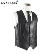 LA SPEZIA Mens Leather Waistcoat Genuine Sheepskin Vest Male Soft Real Skin Sleeveless Jacket For Winter Autumn