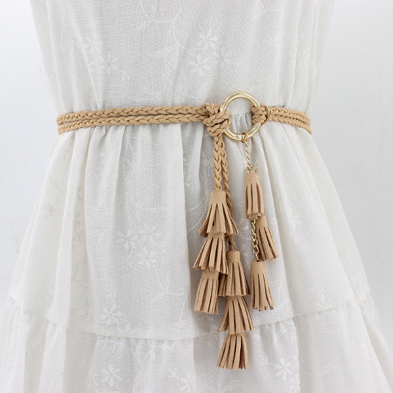 Women Fashion Braided Belt Tassel Ladies Girls Waistbands Thin Waist Rope Knit Belts Cummerbund For Dress