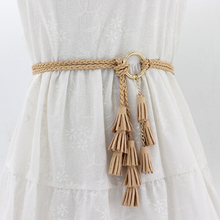Women fashion Braided Belt Tassel Ladies Girls Waistbands Th