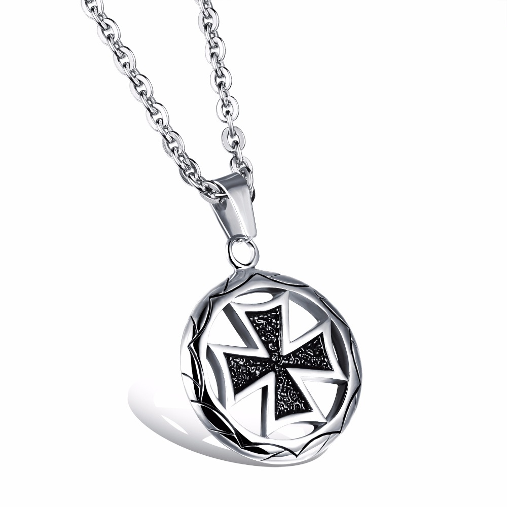 Metal swastika pendant necklaces stainless steel black for Stainless steel jewelry necklace