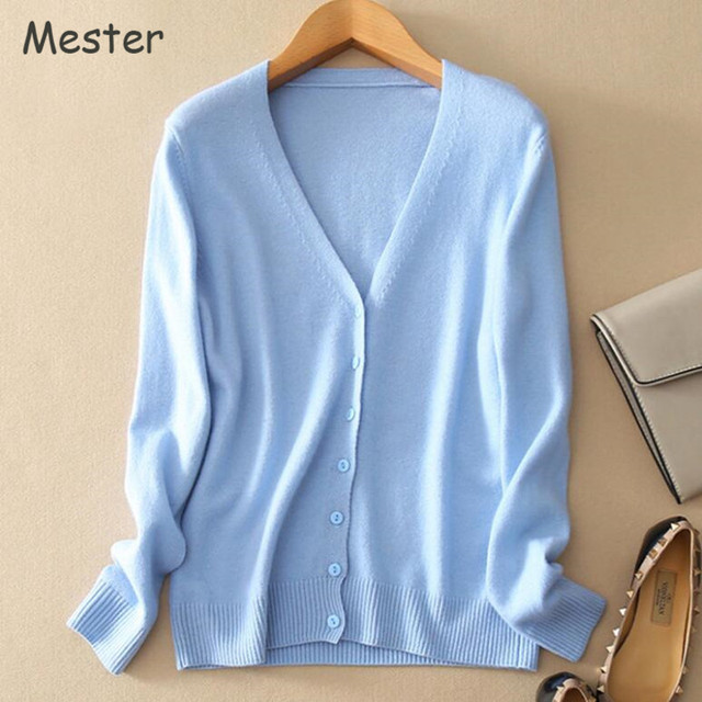 2017 Spring V Neck Cashmere Cardigan Solid Color Long Sleeve Knitted Wool Cardigans Candy Colors Short Sweater Coat Plus Size