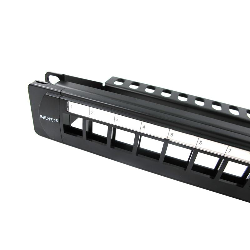 BELNET UTP 24 порта RJ45 пустая патч-панель 1U 19 ''дюймовый цельнометаллический держатель в стойку cat5e cat6 cat7 сетевой Ethernet кабель keystone jack