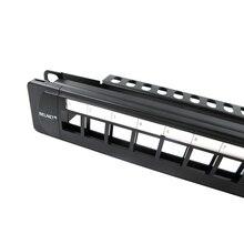 """Belnet utp 24 Порты и разъёмы RJ45 пустой патч-Панель 1u 19 """"дюйма цельнометаллический стойку Cat5e Cat6 cat7 сети Ethernet cablekeystone Jack"""