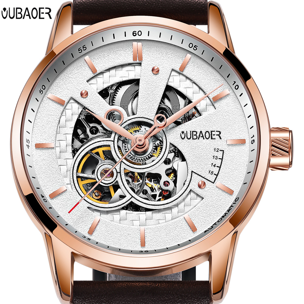 OUBAOER Original Men Watch Top Brand Luxury Automatic Mechanical Watch Leather Military Watches Clock Men Relogio Masculino unique smooth case pocket watch mechanical automatic watches with pendant chain necklace men women gift relogio de bolso
