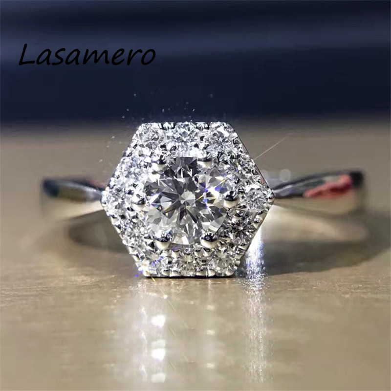 LASAMERO Ring For Women 0.45 ct Round Cut Natural Diamond Ring Accents 18k White Gold Engagement Wedding Ring