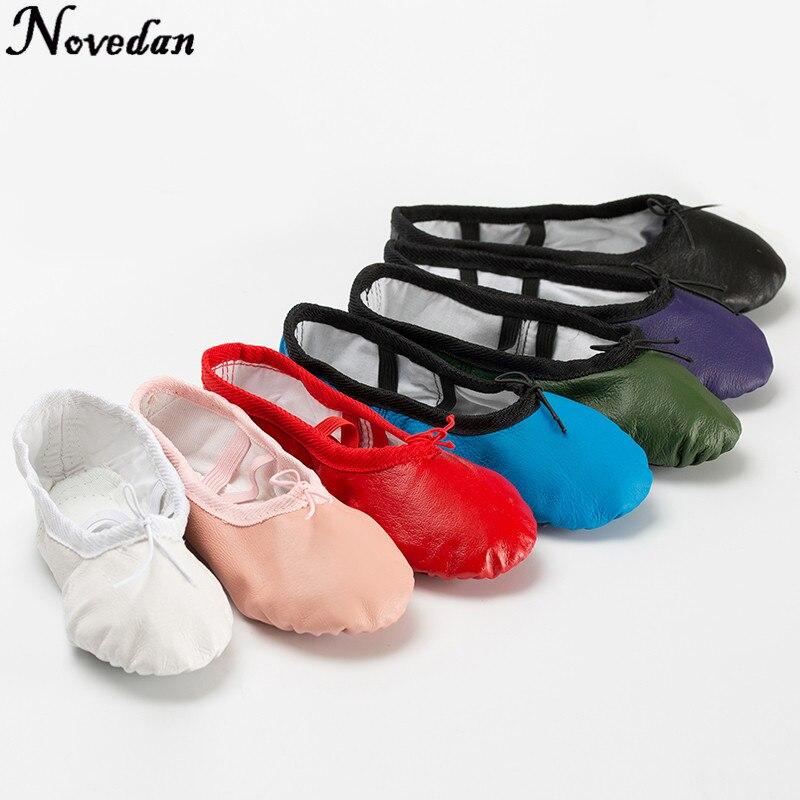 Cantidad mujeres niñas cuero Soft Split suela Ballet zapatos de baile zapatos de punta niños gimnasio Zapatos rosa negro zapatillas tamaño