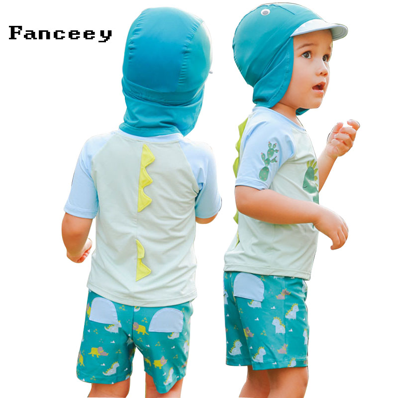 2019 new Swimsuit Boys and young children separate swimming suit kids swimwear baby swimming trunks shirt with swimming caps