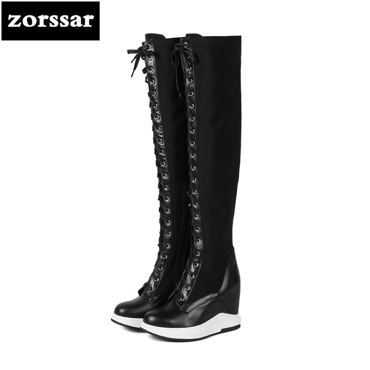{Zorssar} 2019 Female Winter Warm thigh high Boots women snow boots Genuine Leather Wedge High Heels Over The Knee Stretch boots meotina shoes women sandals summer peep toe ankle strap platform wedges female bordered white blue beige shoes size 34 39fashion