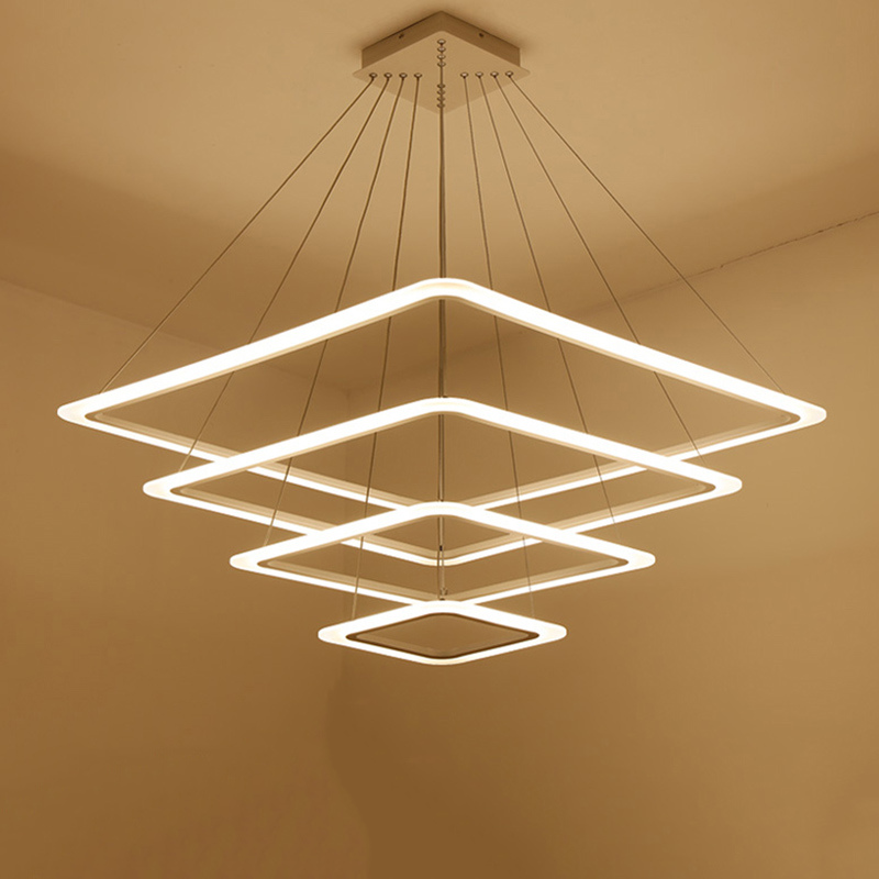 Us 71 37 39 Off Modern 4 Square Rings Led Pendant Lights For Living Room Dining Light Lamp Hanging Ceiling Luminaire In