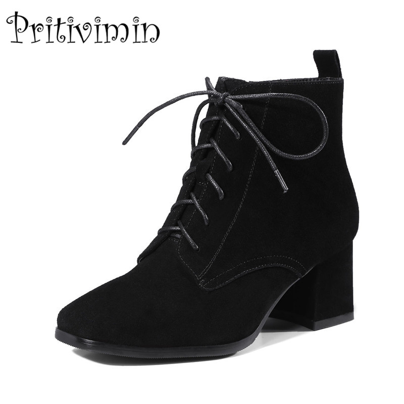 2017 New autumn ladies high quality shoes woman black wine genuine leather thick low heel lace up ankle boots Pritivimin FN106 wetkiss genuine leather lace up pumps female shoes woman pointed toe autumn thick high heels platform ladies shoes black yellow