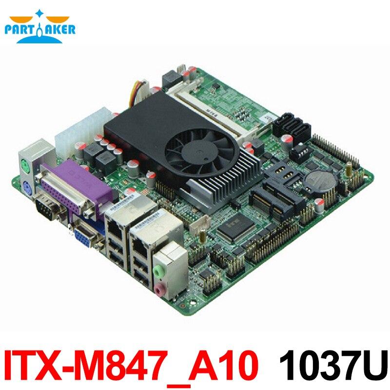 Pas cher industrielle Itx carte mère Intel 1037U 10COM Dual 24bits LVDS POS Machine industrielle Mini ITX-M847_A10