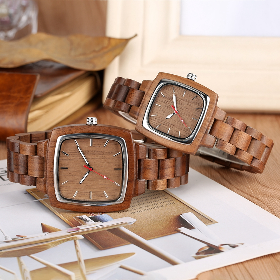 Unique Walnut Wooden Watches for Lovers Couple Men Watch Women Woody Band Reloj Hombre 2019 Clock Male Hours Top Souvenir Gifts 2019 2020 2021 2022 2023 2024 (4)