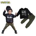 Menoea 2017 Otoño de La Manera Estilo de la Ropa Del Bebé Carta de manga Larga t-shirt + pants del muchacho recién nacido sistema de la ropa de Tela Para Lactantes