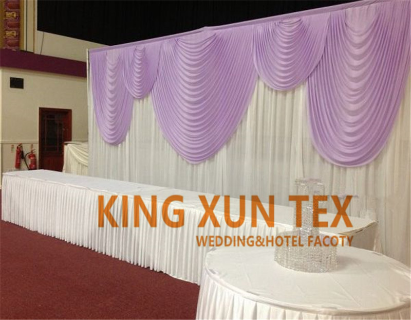 10ft x 20ft White And Lilac Color Ice Silk Wedding Backdrop Curtain Stage Background Drapery Valance