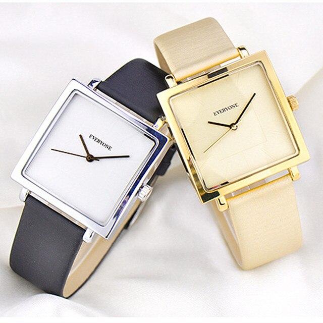 ساعة نسائية مربعة فاخرة ماركة حزام جلد طبيعي عادية مقاوم للماء بسيطة موضة هدية سيدة الذهب الكوارتز ساعات المعصم
