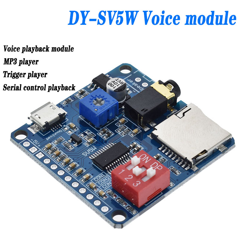 71581be3 5W Smart voice play module Audio Amplifier Board Mp3 TF Card Player UART  serial port control