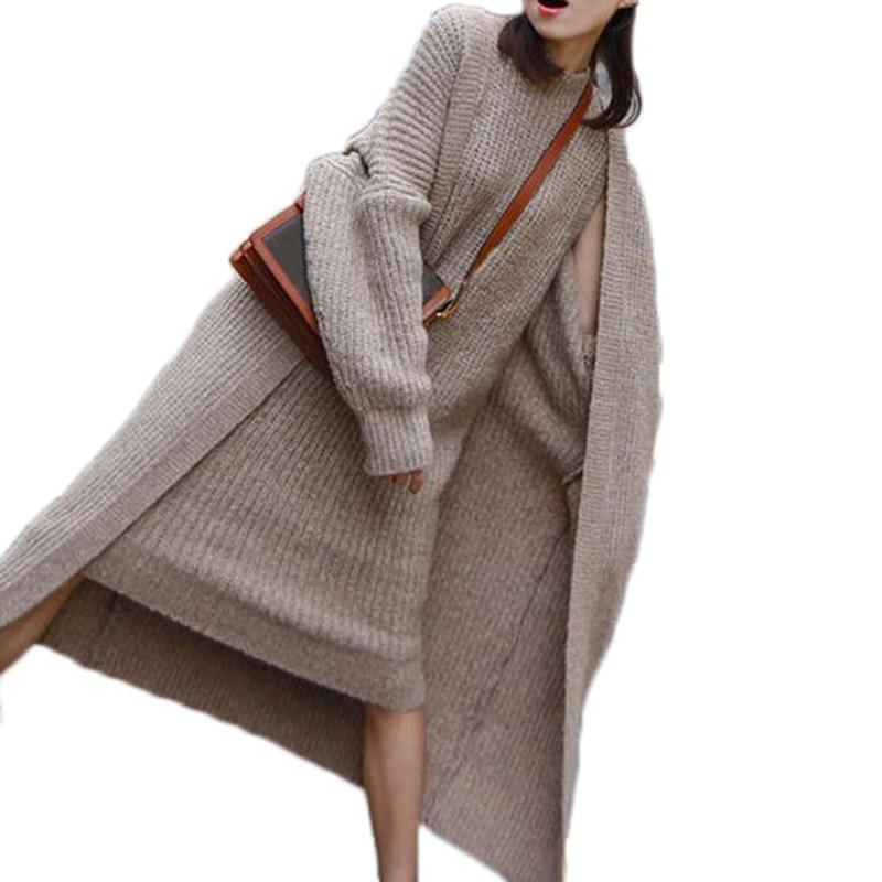 Punto Piezas Traje Otoño Sin Frente Cardigans Vestido khaki Grey Abierto Largo Grey light De Invierno Dos Suéter Mangas Mujeres vw61nqSS