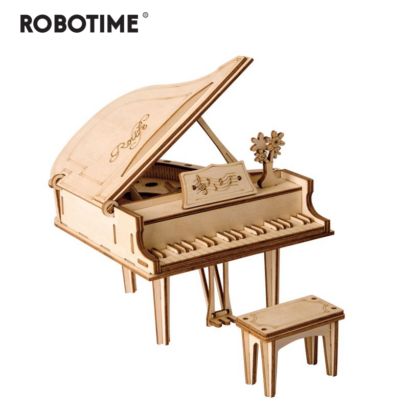 Robotime DIY 3D Laser Cutting Wooden Grand Paino Puzzle Game Gift For Children Kids Model Building Kits Popular Toy TG402