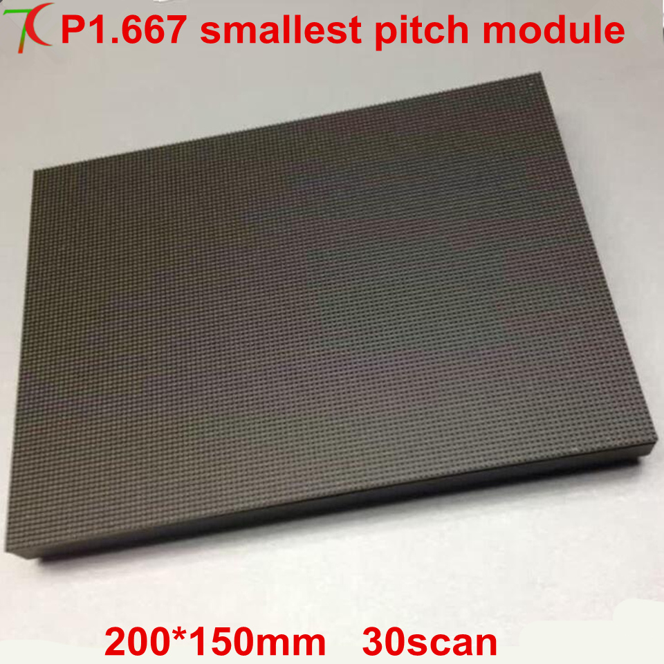 Normal New Product  P1.667 Indoor Smallest Pitch  Full Color Led Module,360000dots/sqm,120*90mm,1300cd
