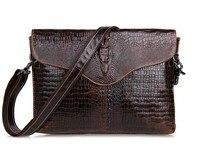 Maxdo Brown Crocodile Alligator Pattern Vintage Genuine Leather Cowhide Small Men Messenger Bags Clutch Purse Ipad