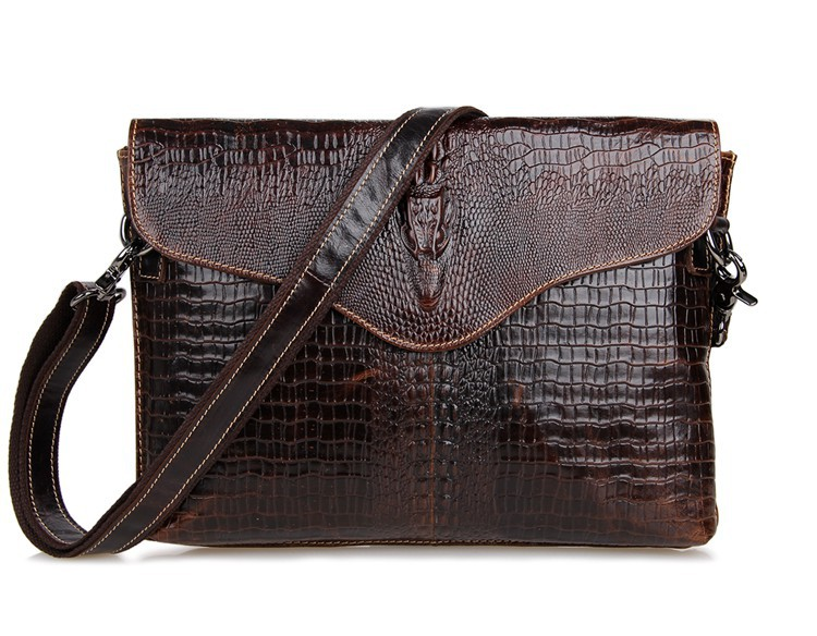 Nesitu Brown Crocodile Alligator Pattern Vintage Genuine Leather Cowhide Small Men Messenger Bags Clutch Purse Ipad Bag #M7267