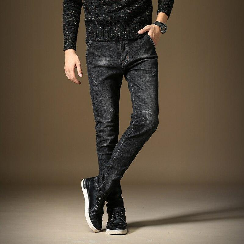 Новый стильный Для мужчин джинсы скинни удобные Повседневное эластичные тонкие моющиеся Для мужчин джинсы ...
