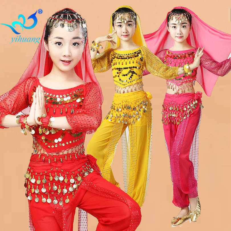 Abra Belly Dance Costume Girls Halloween Play Party Performance Outfits Children Bollywood Music Festival Coins Sequined Set