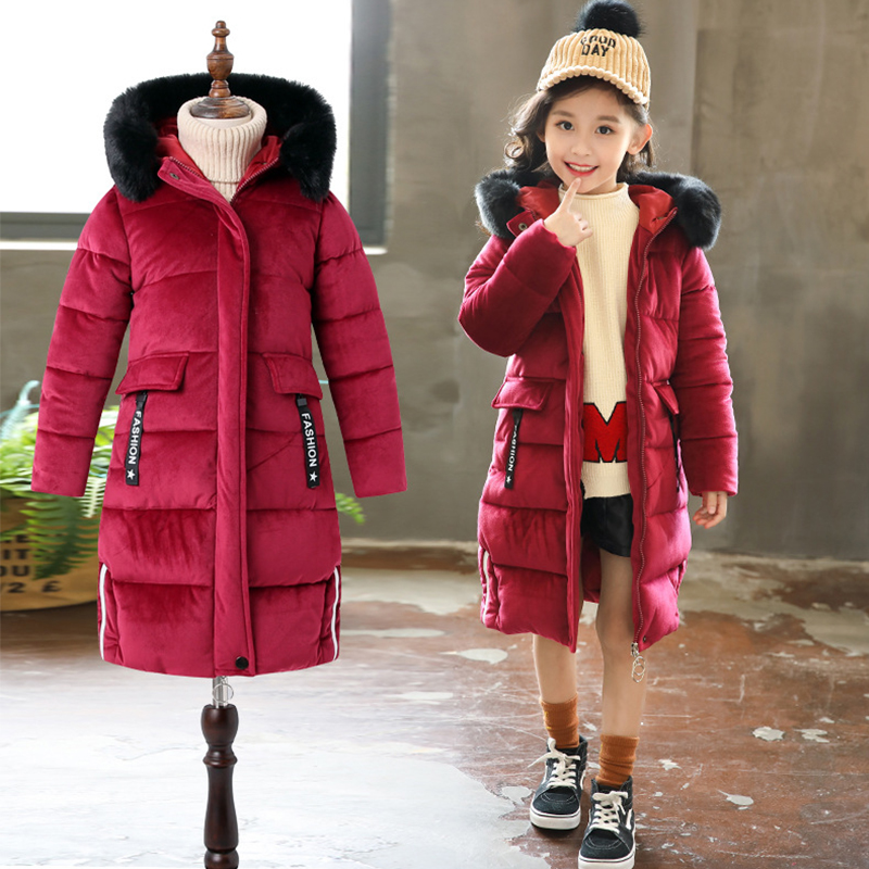 HH Teenage Girls winter coat parka real fur Children's Winter Cotton Warm Jacket Cotton-padded Jacket Hooded long down Coats fashion winter women jacket warm coat hooded women parka loose bread padded down cotton wadded short coats a3901