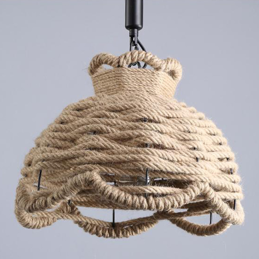 Kreative Persnlichkeit Edison Birne Vintage Seil Hanf Pendelleuchte Industrie Metall Lampe Amerikanischen Stil Fr Wohnzimmer