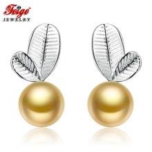 FEIGE Fashion Brincos Real 925 Silver Stud Earrings Cute style 6-7mm Golden Freshwater Pearl Earrings for Women Fine Jewelry
