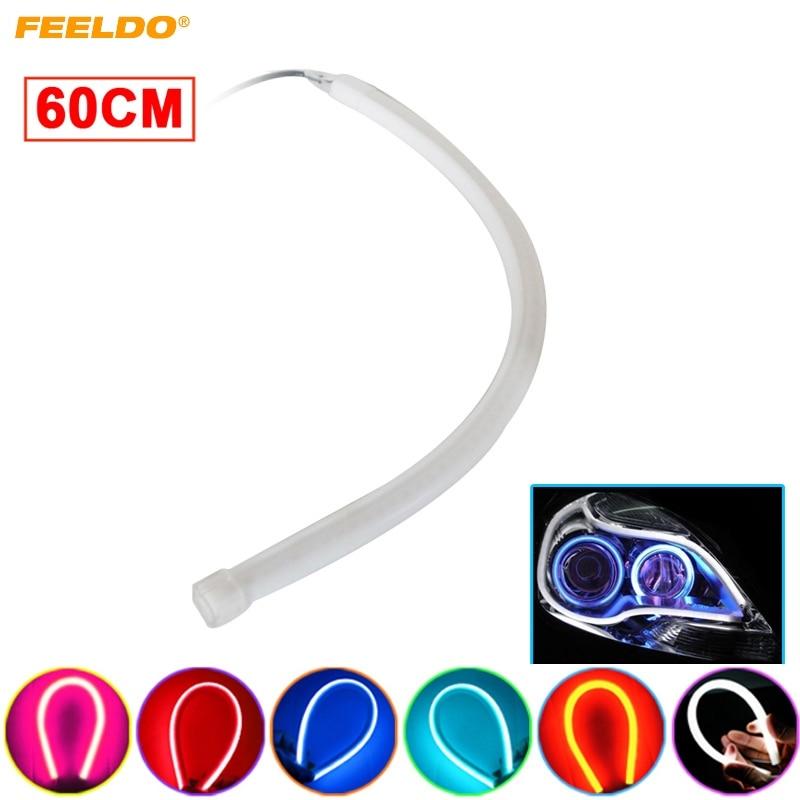1Pc 60cm DRL Flexible LED Tube Strip Style Daytime Running Lights Tear Strip Car Headlight Turn Signal Light 6-Color #FD-4770 1 pair car led lights 12 24v drl head lights 8w turn light strip