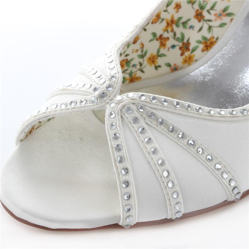 Donne Peep Toe Strass Raso Avorio Bianco Da Sposa Tacco Sottile Scarpe Da Sposa Da Sera Pompe Corte Scarpe Uninnova 183 8B - 6