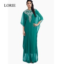 Dunkle Grün Abendkleider 2016 High Neck Ausgefallene Muslimischen Abendkleid kleid der Halben Hülse Kaftan Türkische Frauen Party Kleider Abaya In Dubai