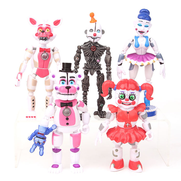 5Pcs/lot FNAF Five Nights At Freddys Freddy Toys Bonnie Foxy Fazbear Bear With LED Light PVC Joint Moveable Figures Toys 13-16cm