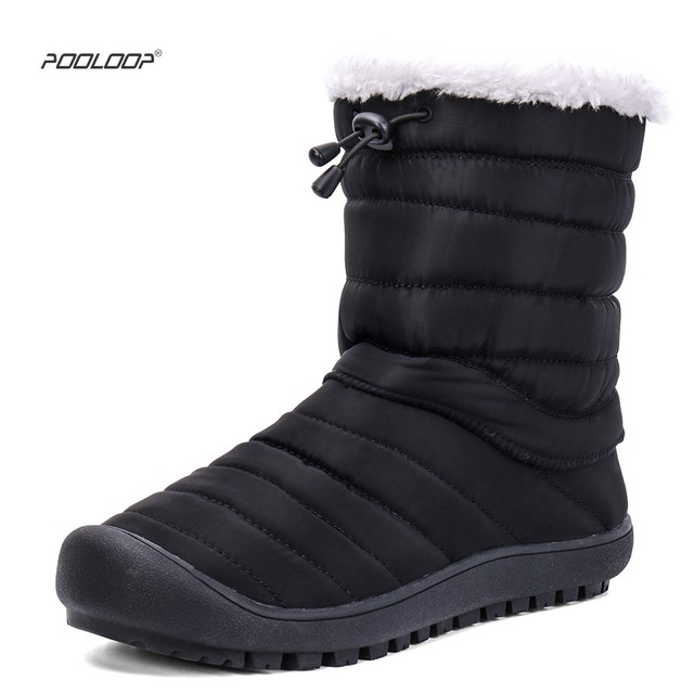 9c5688f950e US $34.98 |POOLOOP Men Waterproof Snow Boots Indoor House Slippers Slip On  Male/Female Winter Shoes Warm Fur Boots Men's Outdoor Ankle Boot-in Snow ...
