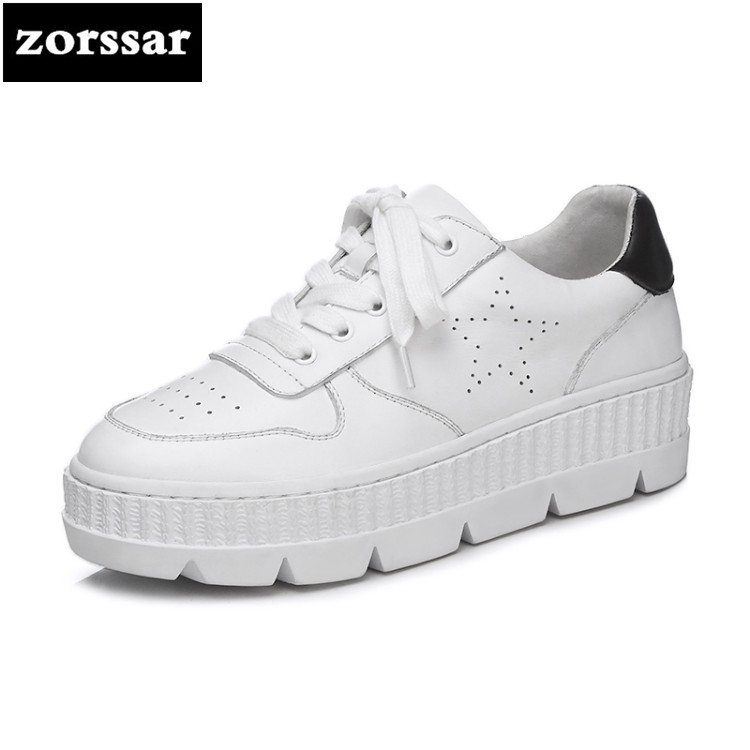 {Zorssar} 2018 Genuine Cow Leather Flat loafers Women Sneakers High Quality Comfortable Flats Casual shoes Women Platform shoes instantarts women flats emoji face smile pattern summer air mesh beach flat shoes for youth girls mujer casual light sneakers