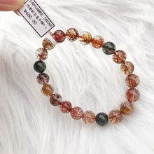 Top Natural Copper Rutilated Quartz Crystal Colorful Woman Man Round Beads Bracelet 7mm 8mm 9mm 10mm 11mm 12mm AAAAA