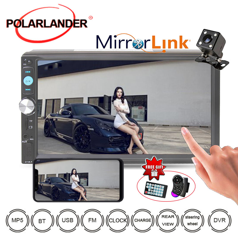 Bluetooth Audio Stereo 2 Din With Rear View Camera Mutimedia 10 Languages Mirror Link MP3/MP4/MP5 player <font><b>7023D</b></font> 7'' Car Radio image