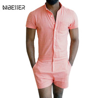NIBESSER Summer 2017 Men Siamese Shorts Short Sleeve Solid Casual Button Zipper Jumpsuit Shorts Customes Overalls Siamese Shorts