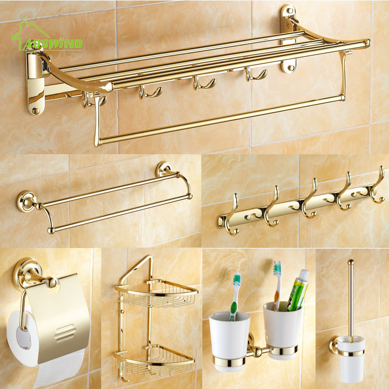 Buy European Gold Plated Bathroom Accessories Antique Brass Polished Bath