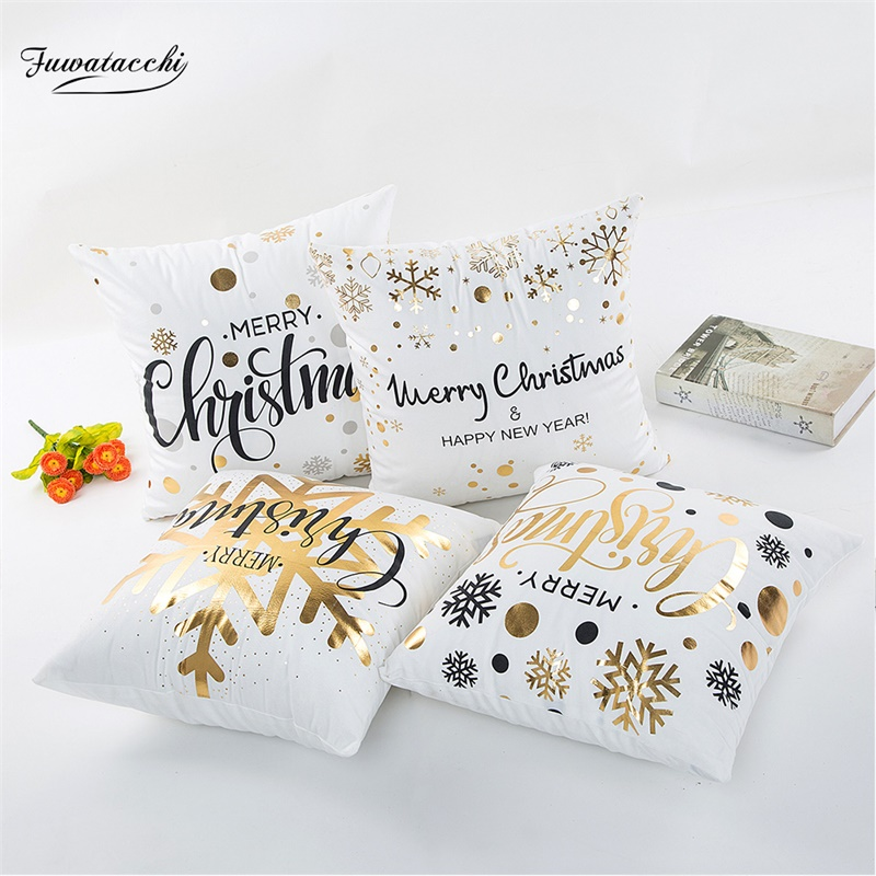 Fuwatacchi Christmas Gold Stamping Snowflake Pillow Cover Letter Throw Pillows Nordic Cushion Linen Cotton Decorative